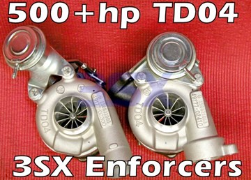 Picture of 3SX TD04 Turbos - 3SX Enforcers - 500+hp BILLET Turbos