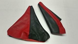 Picture of Shift Boot & E-Brake Boot Combo Leather Black+Red
